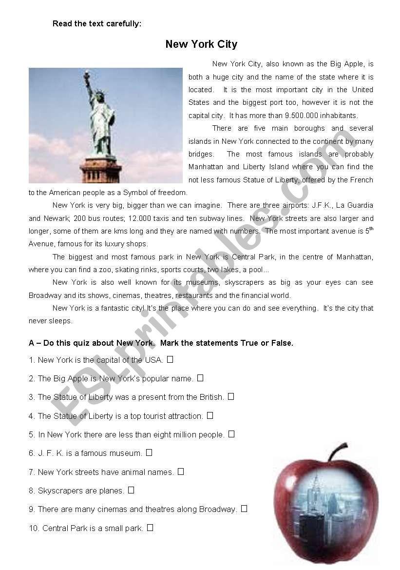 New York City - Reading worksheet