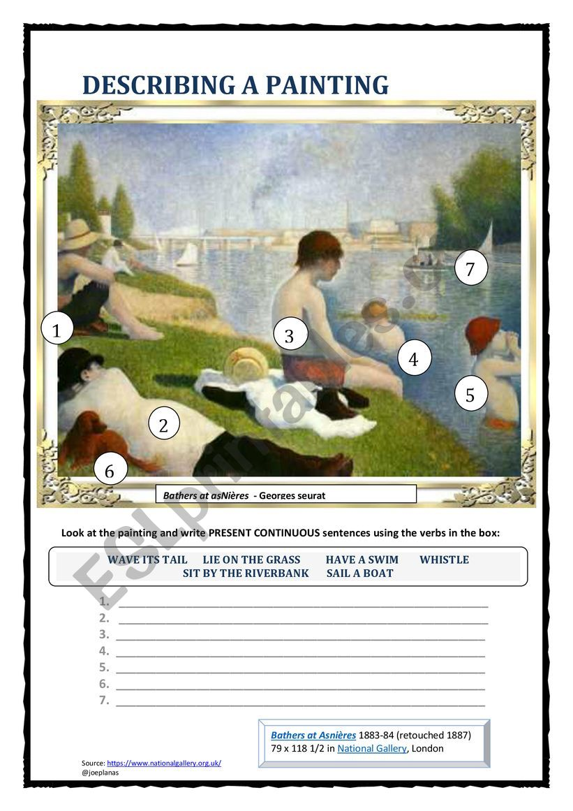 DESCRIBING A PAINTING 3 (SEURAT) 2 PAGES - ESL worksheet by