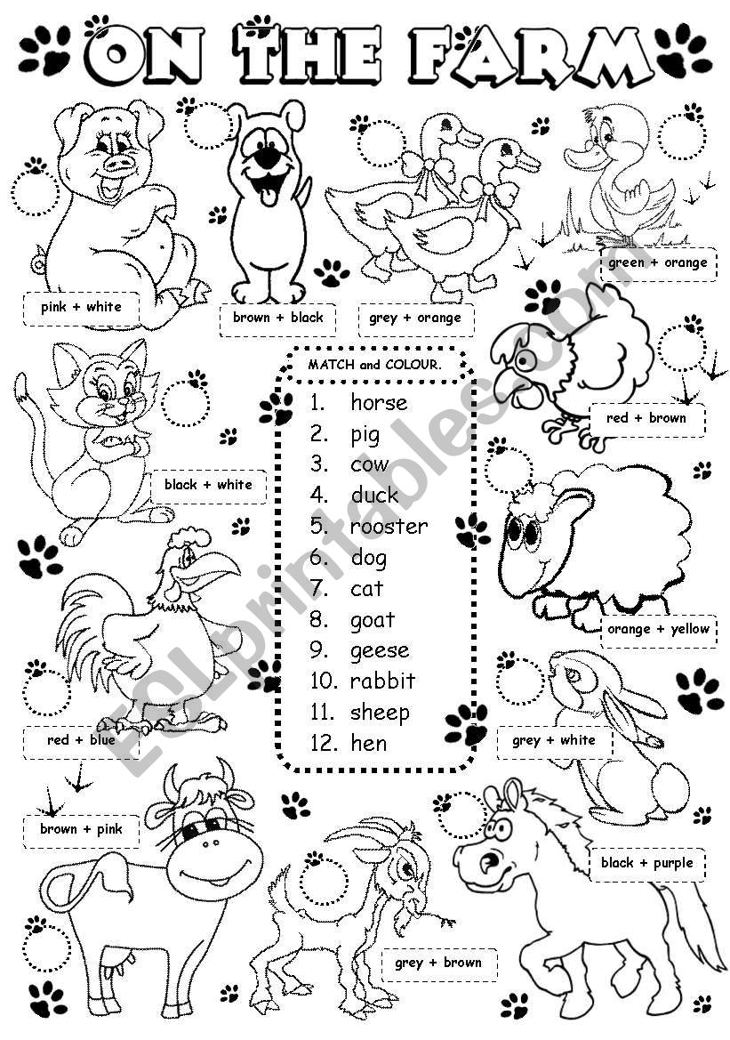 On the farm - animals (1/3) worksheet