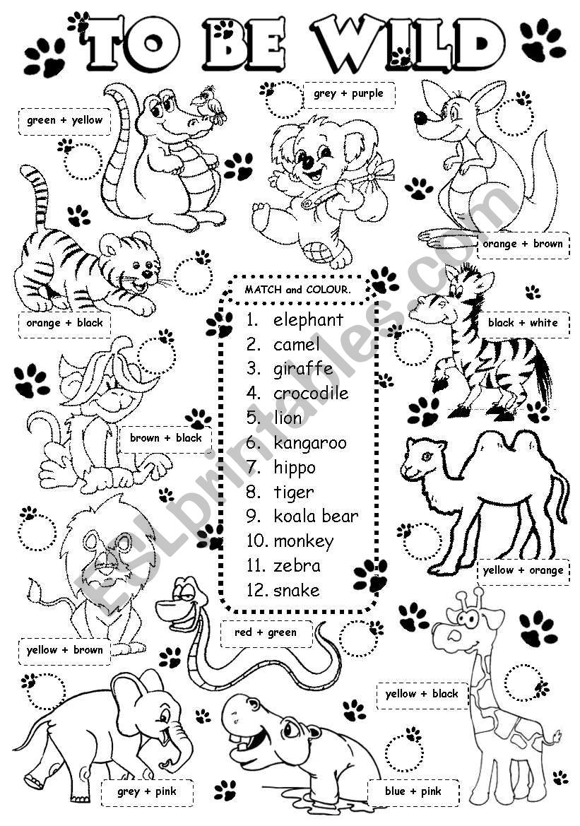 To be wild (3/3) worksheet