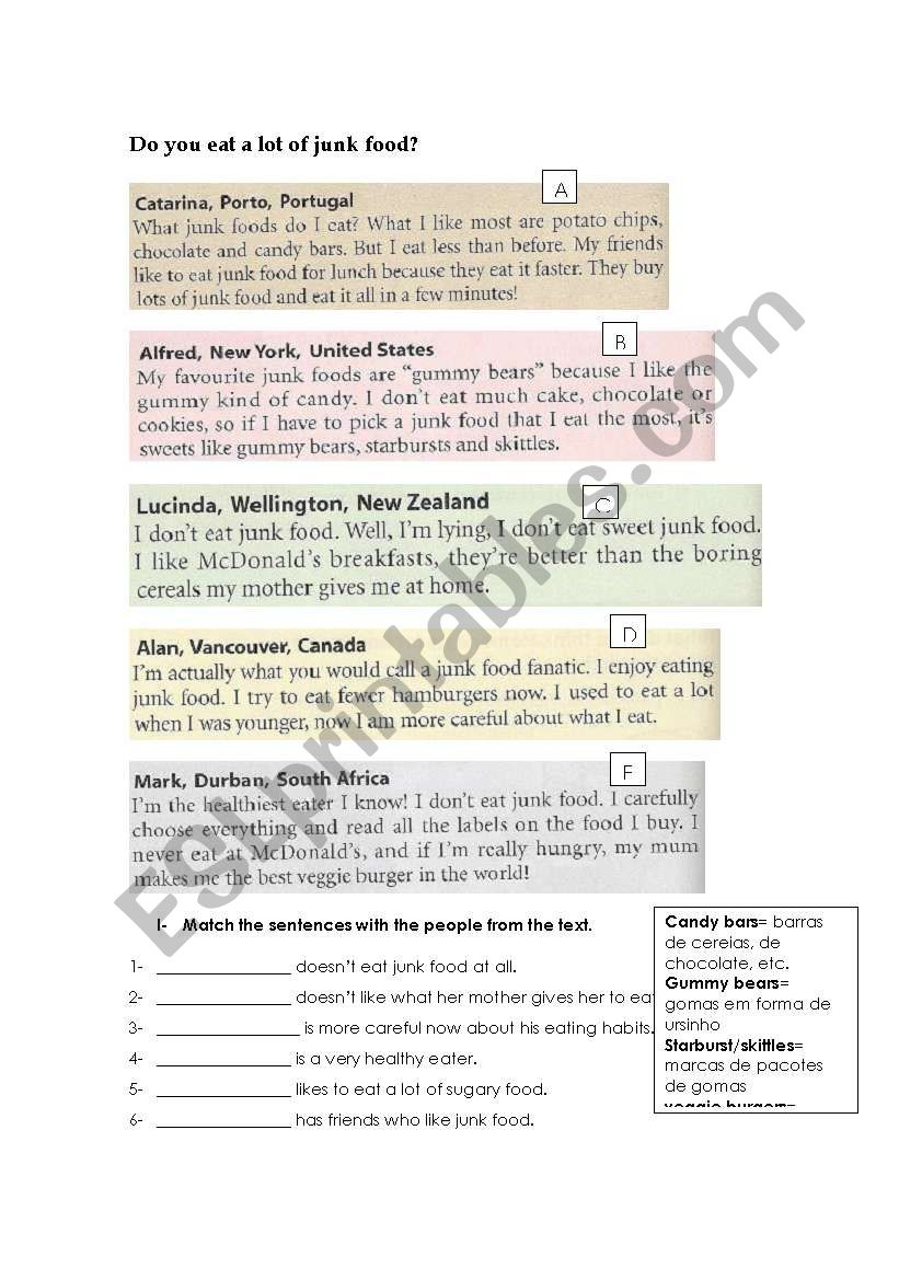 Talking about food - CEF worksheet