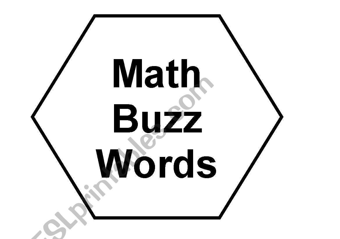 English worksheets: Math Buzz Words