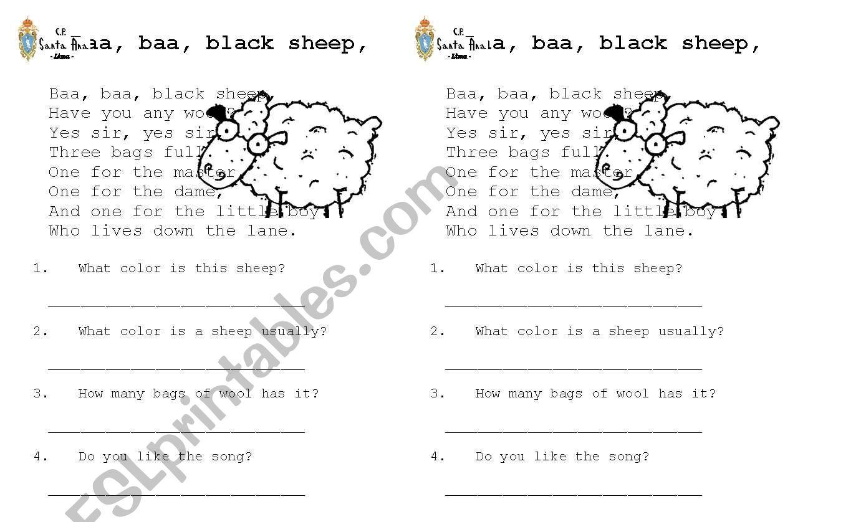 Baa, baa, black sheep worksheet