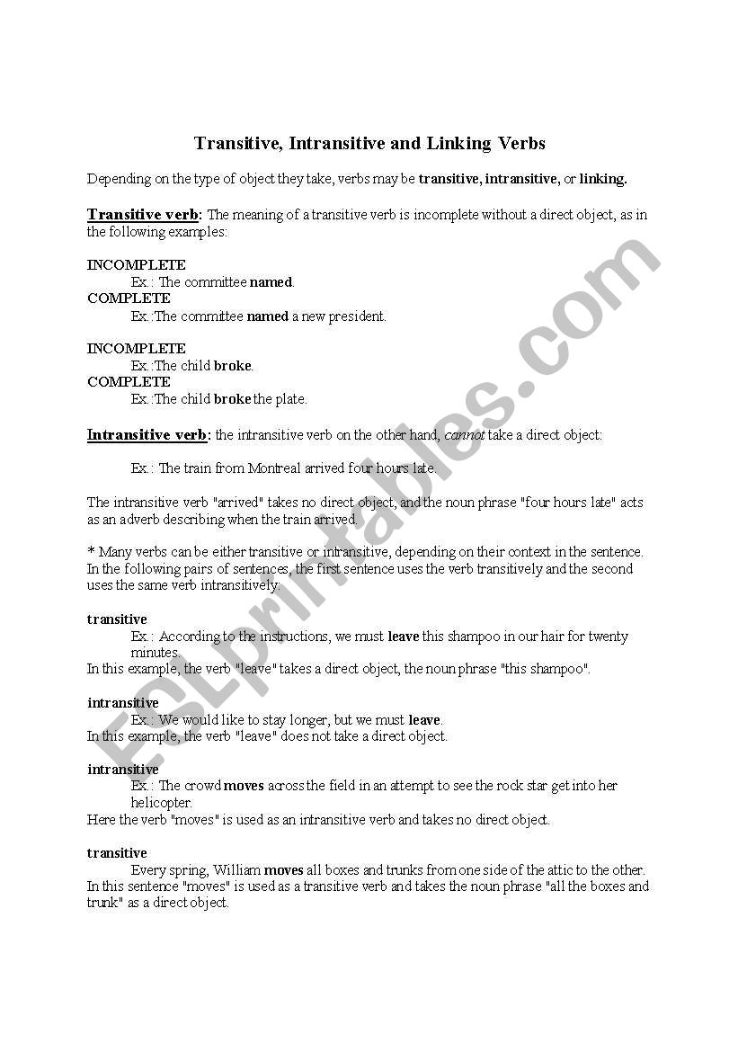 Worksheets Transitive And Intransitive Verbs Worksheet english worksheets transitive and intransitive verbs verbs