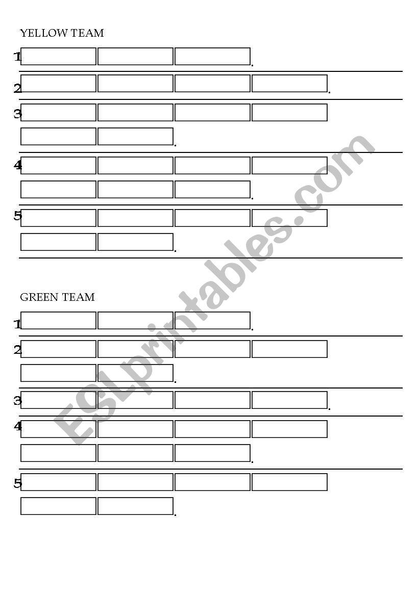 Treasure Hunt Answer Papers worksheet