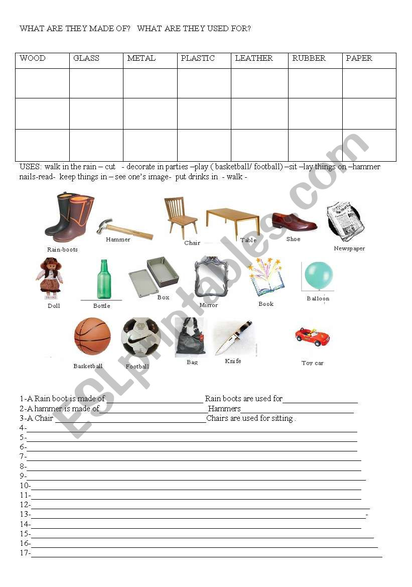 What are things made of? worksheet