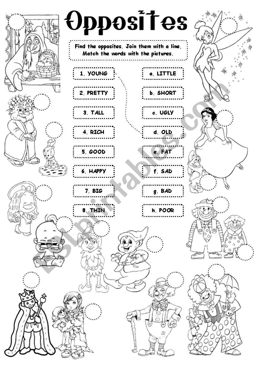Opposites - adjectives worksheet