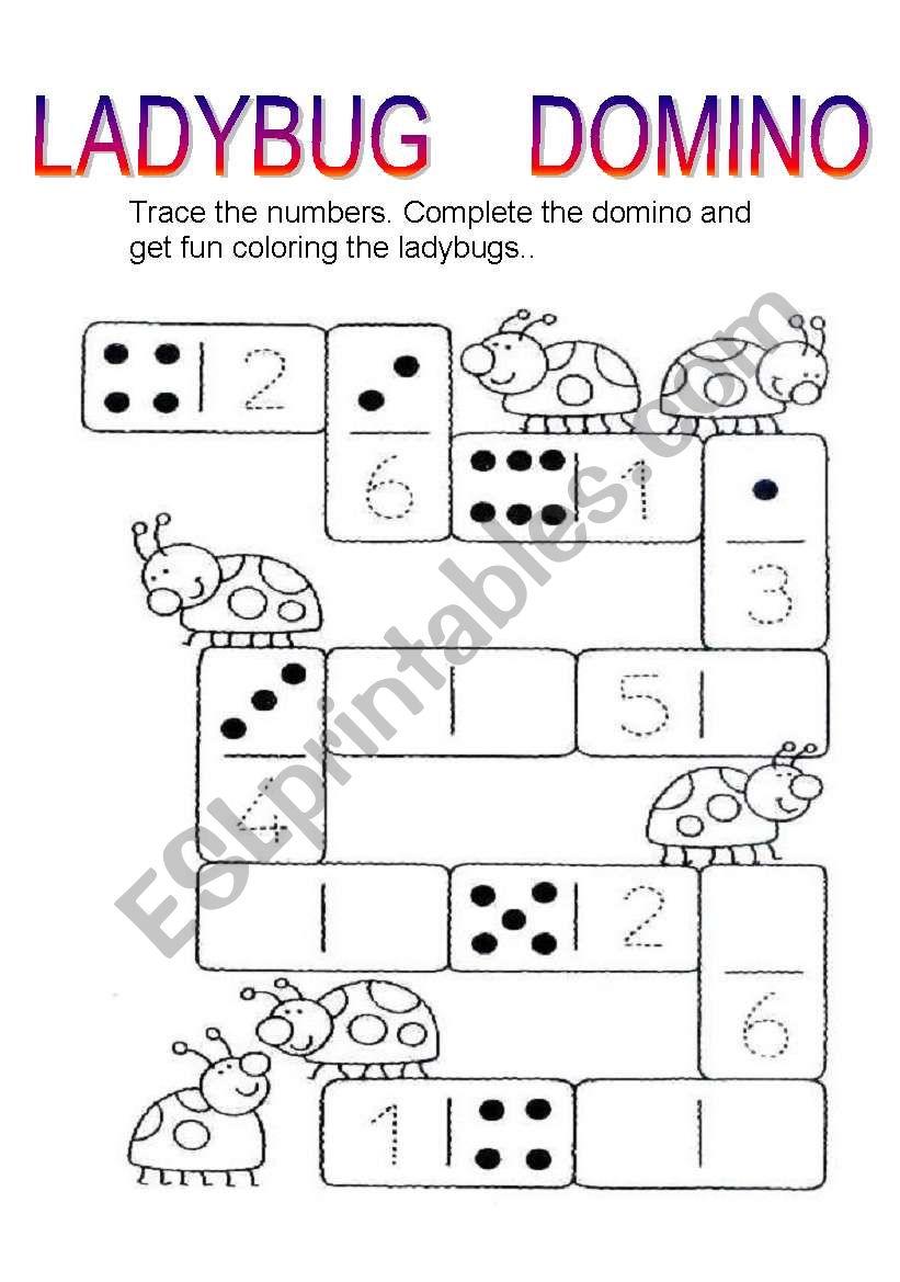 ladybug domino worksheet