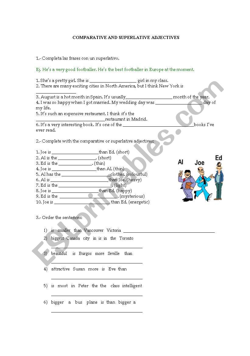 English Worksheets Comparative And Superlative Adjectives