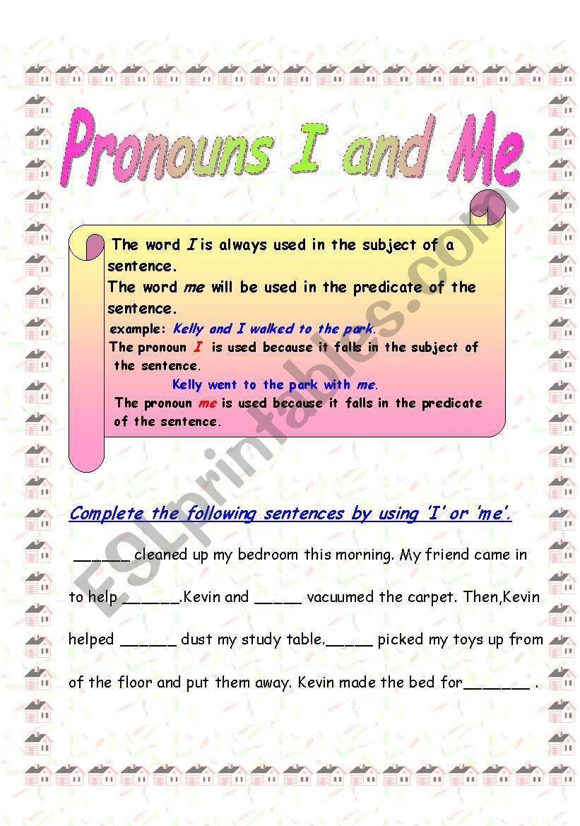 pronouns i and me esl worksheet by shikz. Black Bedroom Furniture Sets. Home Design Ideas