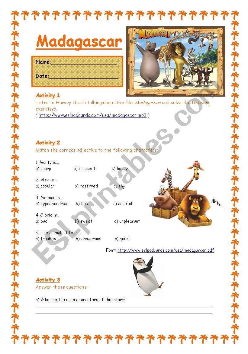 Madagascar - The Movie 1/3 worksheet