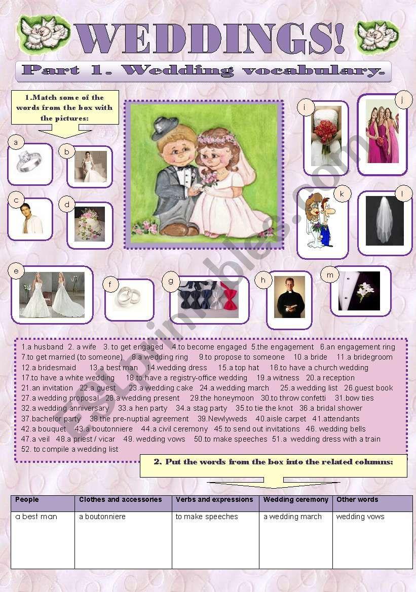 WEDDINGS! - vocabulary set worksheet