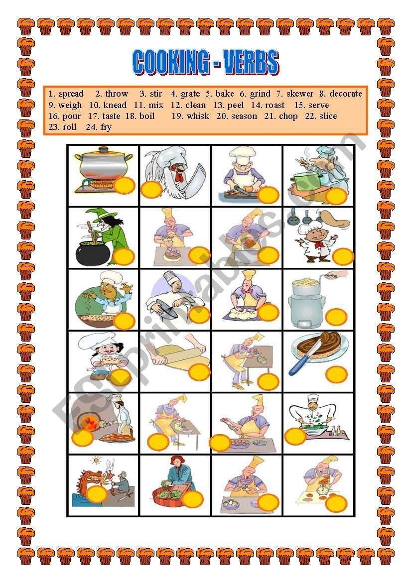 COOKING VERBS -Matching  worksheet