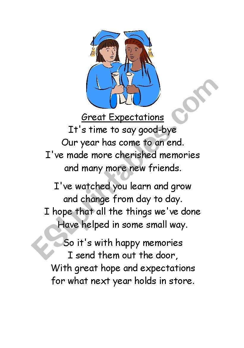 end of school poem worksheet