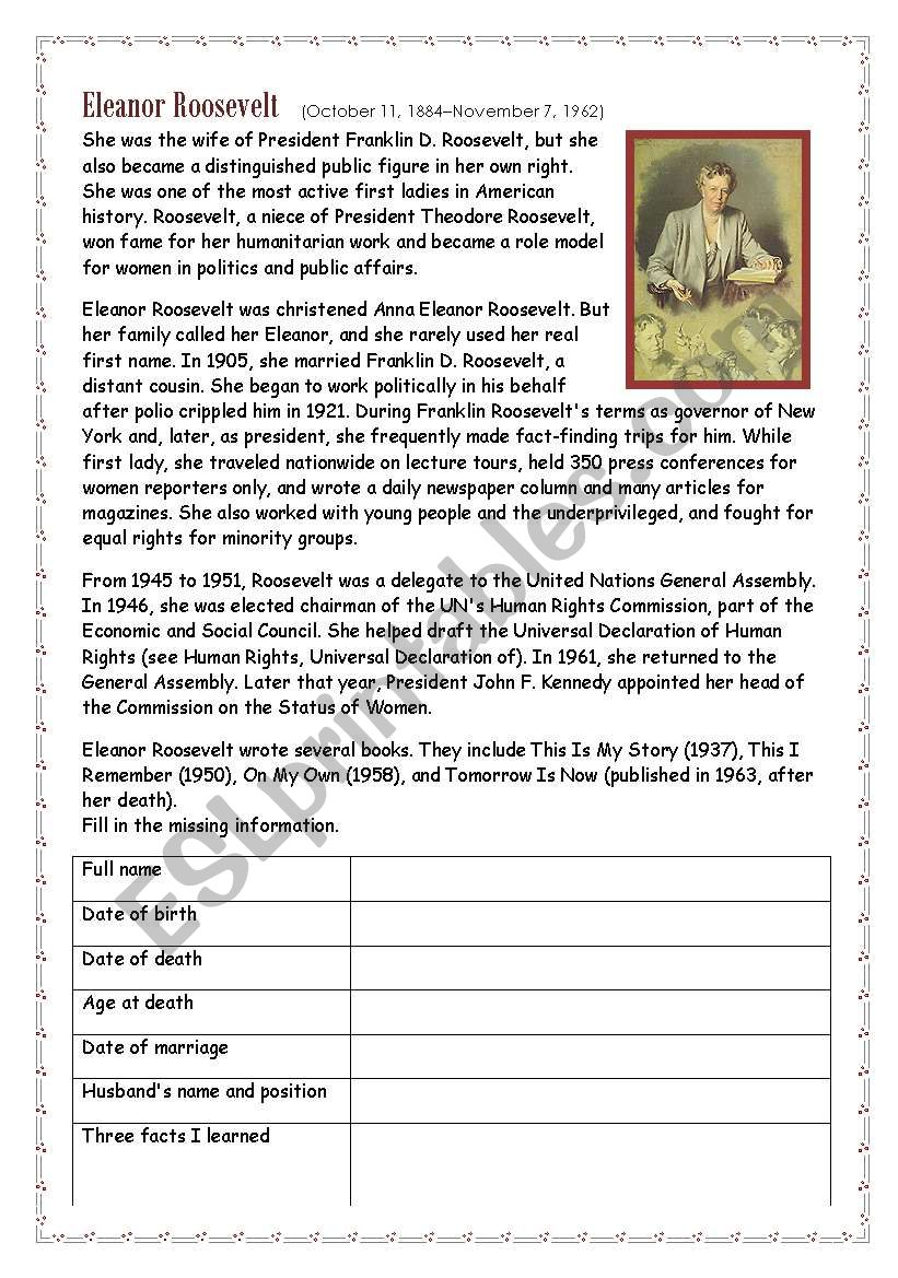 eleanor roosevelt essay paper Eleanor roosevelt was born october 11, 1884 to elliott roosevelt and anna hall (caroli 2008) although she came from an influential family (her uncle was theodore roosevelt), her life story did not start out smoothly (2008.