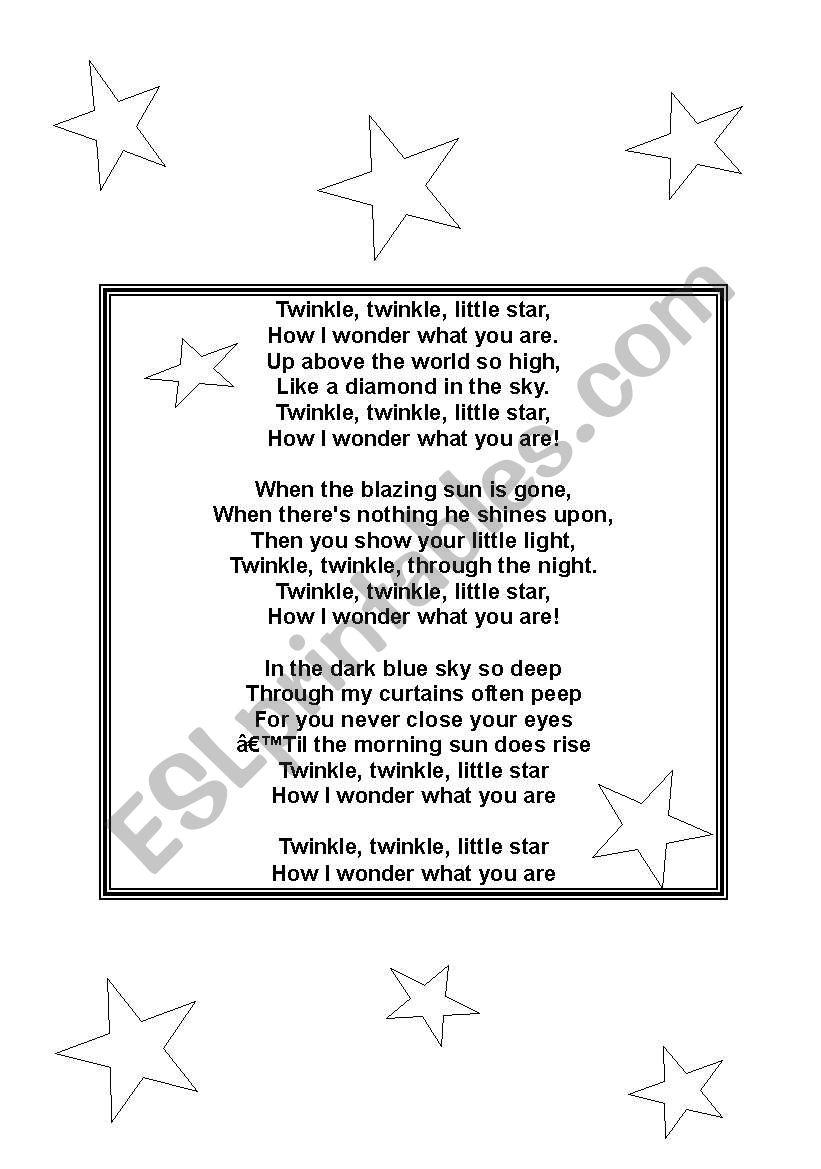 twinkle little star worksheet