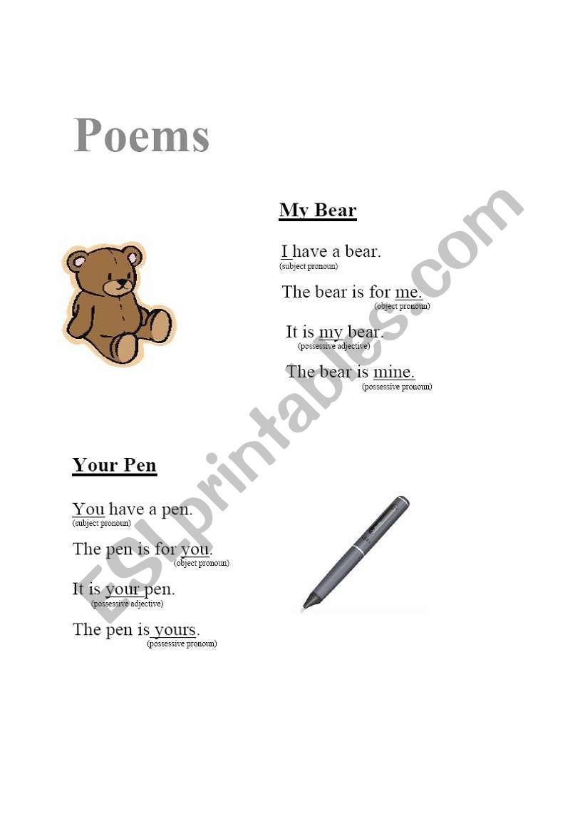 Poems (possessives) worksheet