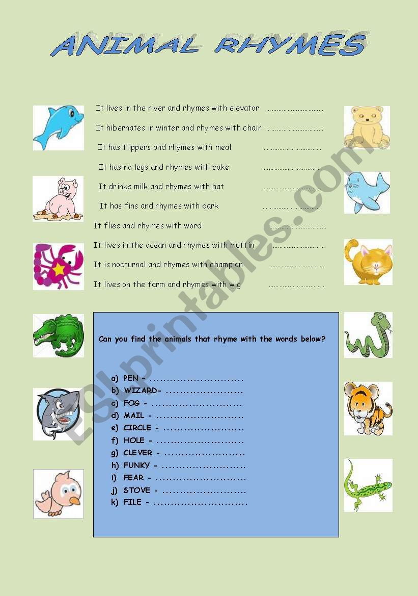 Animal Rhymes - ESL worksheet by Greenrose