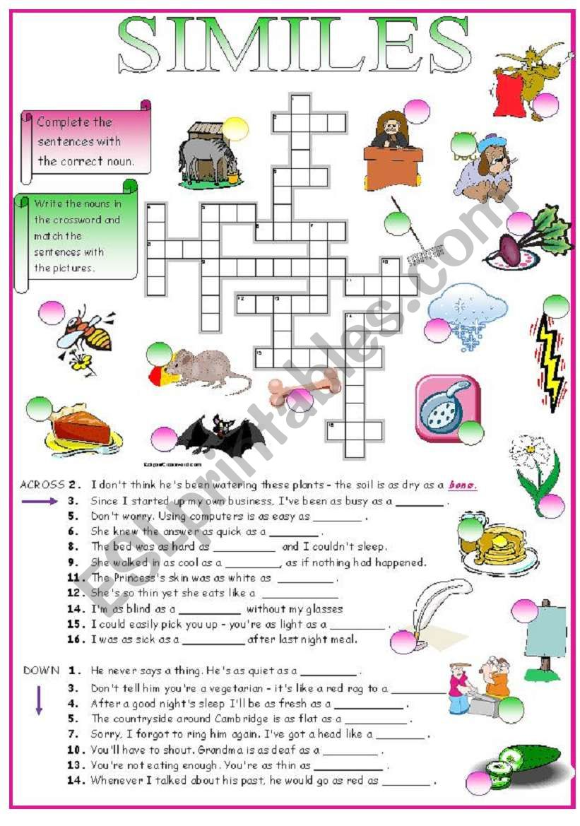 SIMILES (crossword + key) worksheet