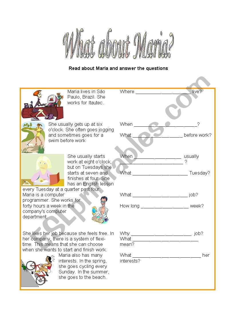 WHAT ABOUT MARIA? worksheet
