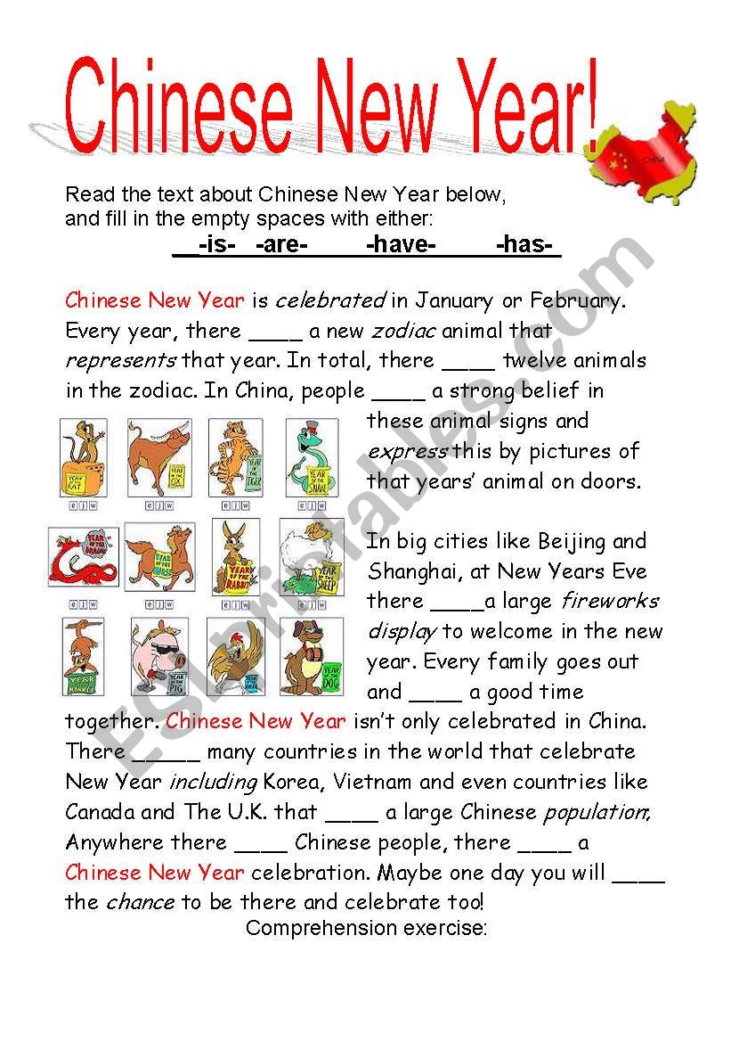 Chinese New Year Esl Worksheet By Cayasia
