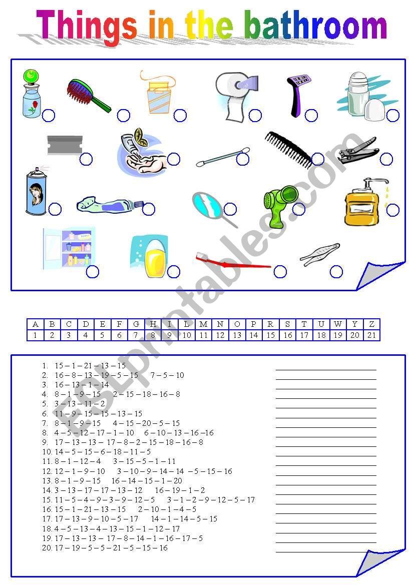 Things in the BATHROOM worksheet