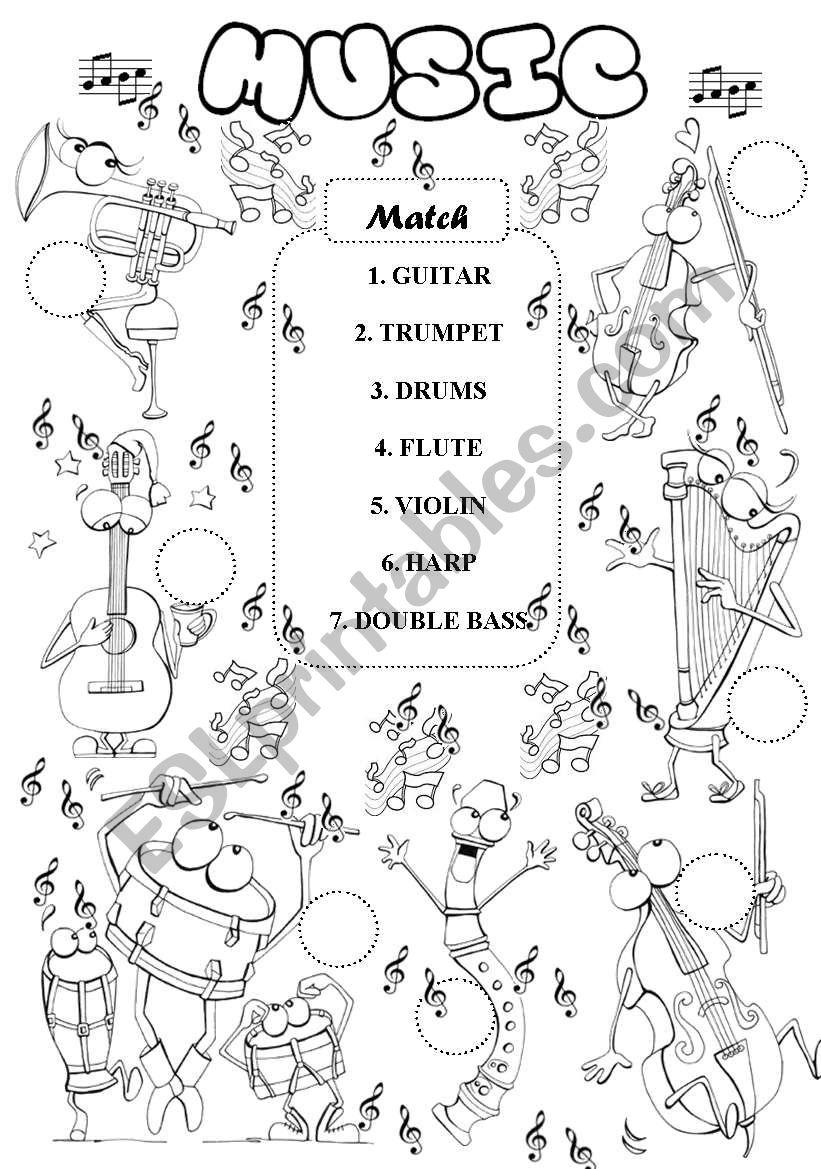 Music - instruments worksheet