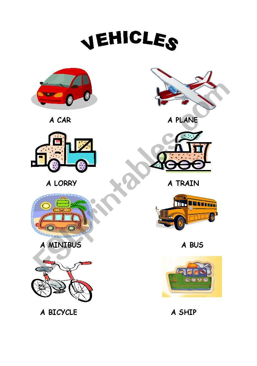 vehicles esl worksheet by hilalcm. Black Bedroom Furniture Sets. Home Design Ideas