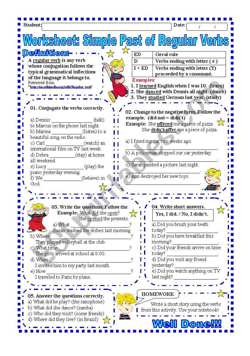 Worksheet: Simple past of Regular Verbs