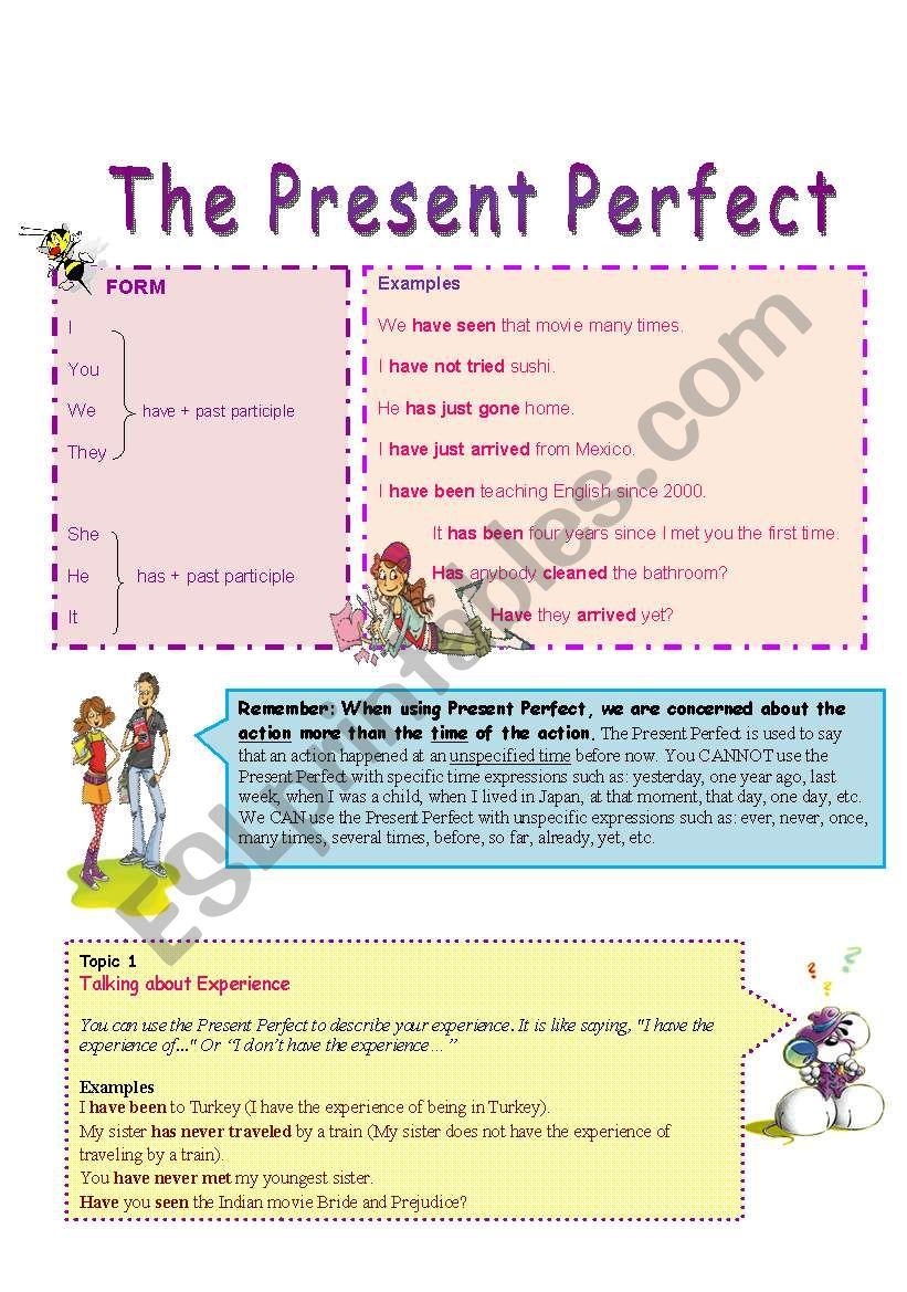 Present Perfect Grammar Guide (1/2) - ESL worksheet by Khadooy