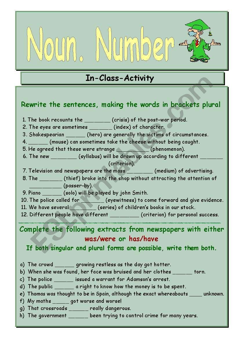 Grammar. Noun. Number - ESL worksheet by vesnushka