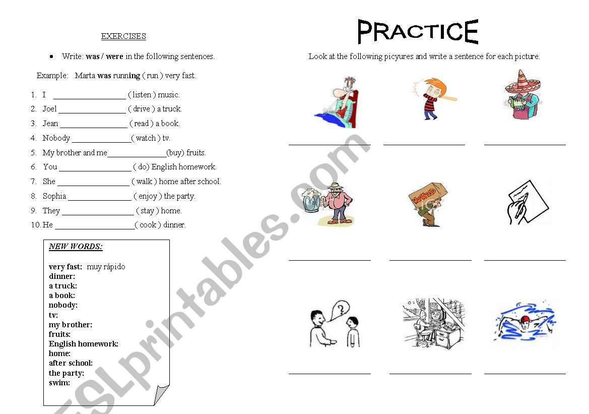 Past continuous exercises worksheet
