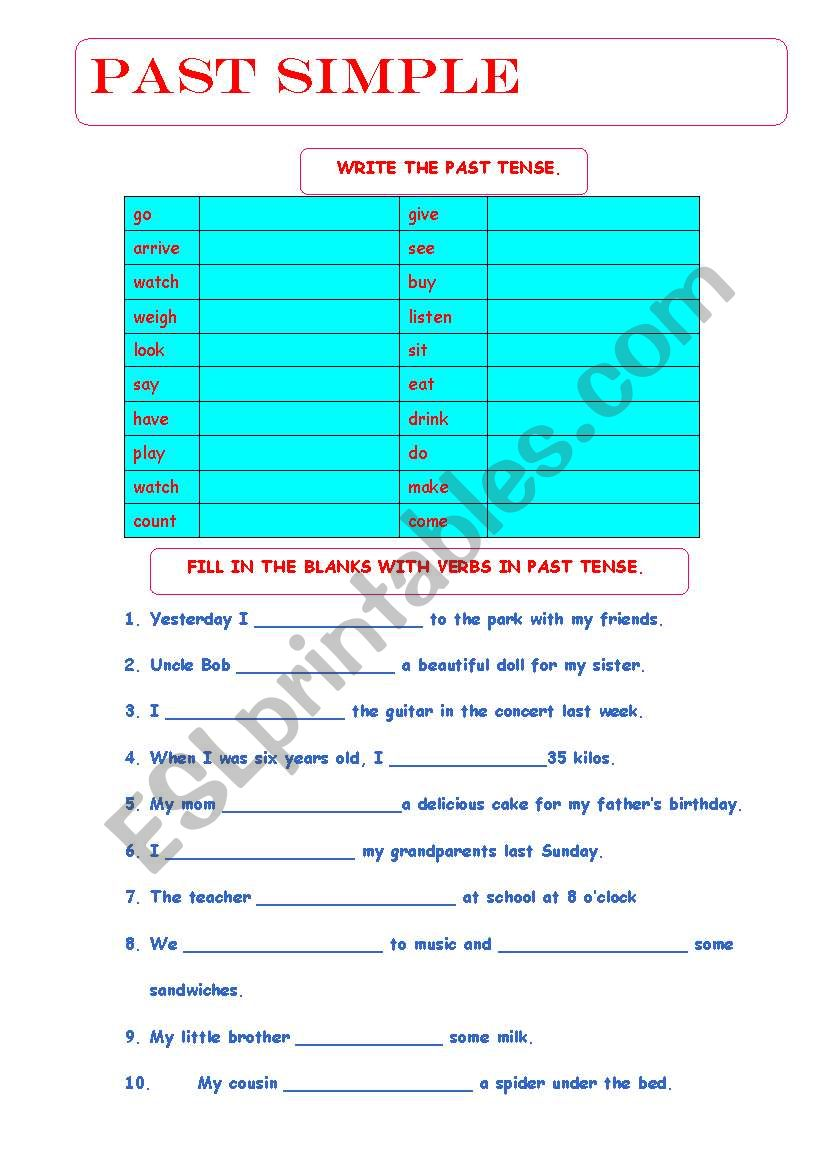 SIMPLE PAST - ESL worksheet by Tabita
