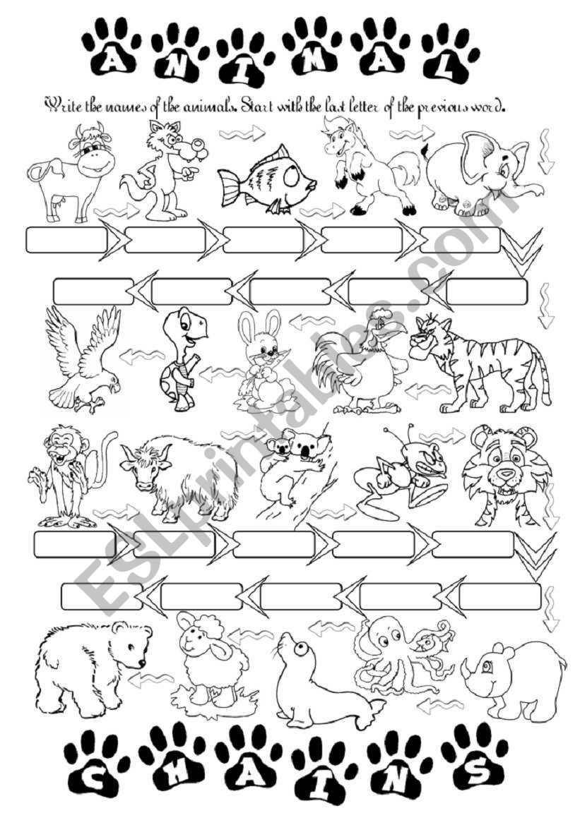 Animal chains - word chains worksheet