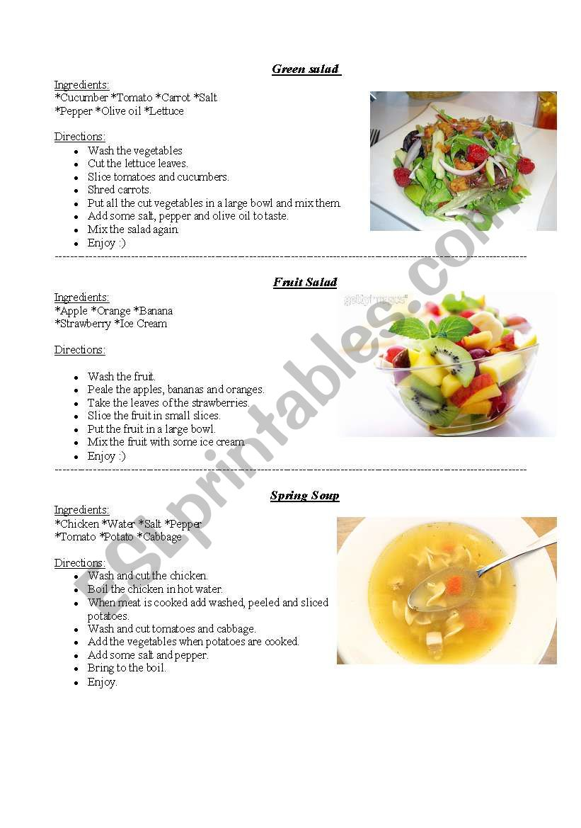 Simple recipes worksheet