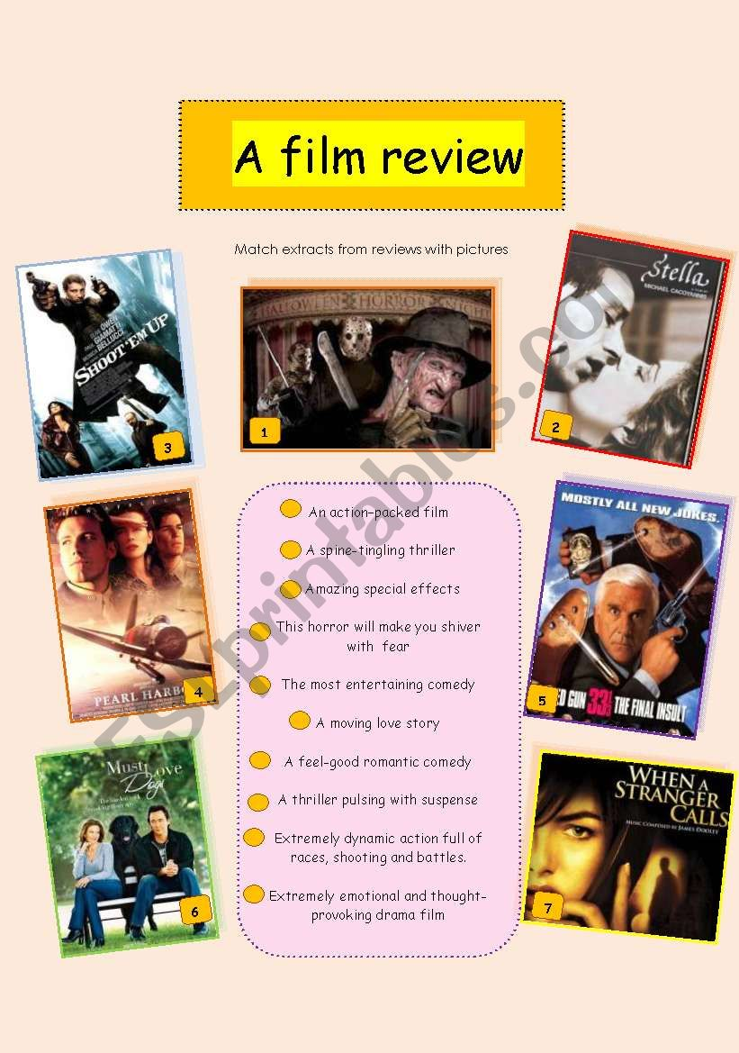 How to write a film review worksheet