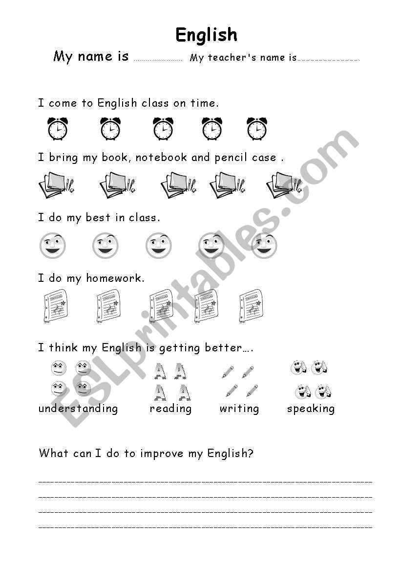 self evaluation page worksheet