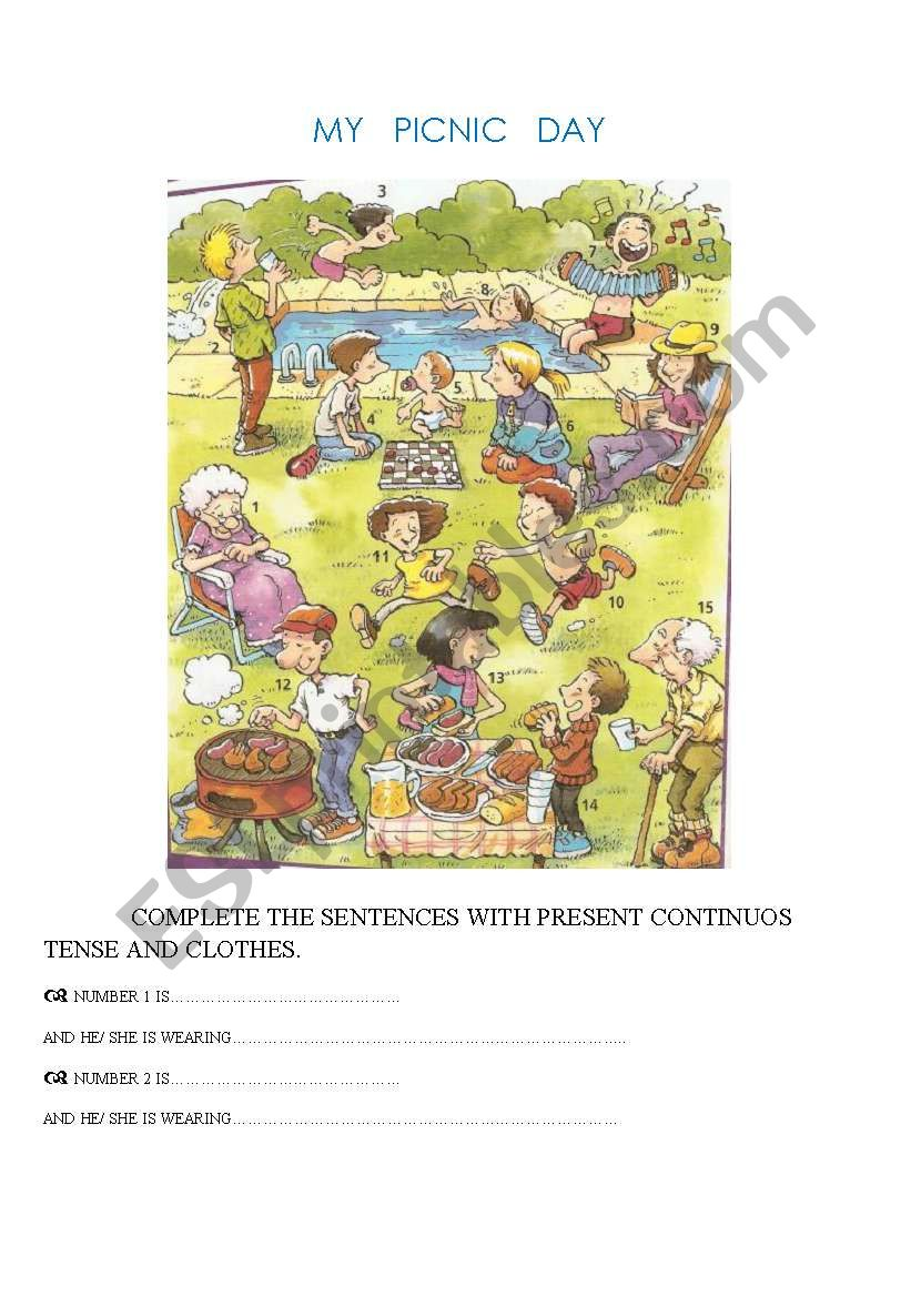 MY PICNIC DAY. Present Continuos Tense, clothes and speaking activity (2 pages)
