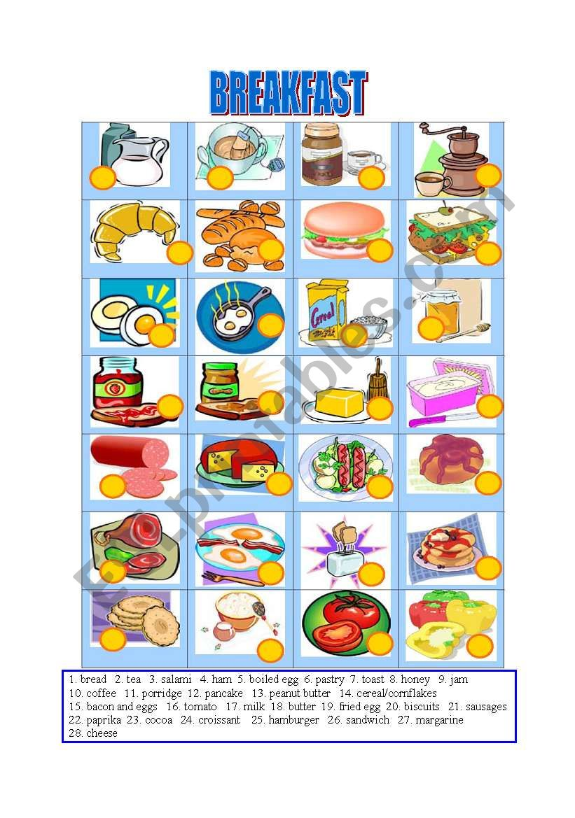 Breakfast-Matching worksheet