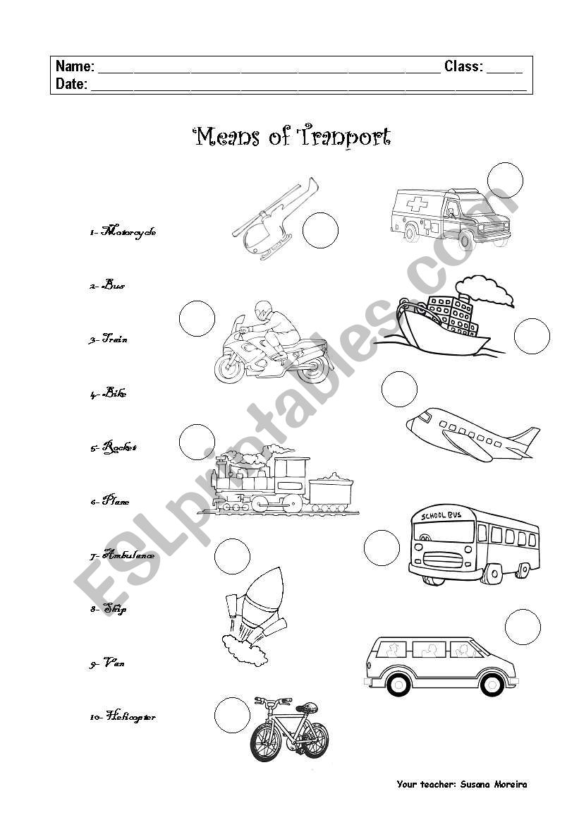 means of transport esl worksheet by sumoreira. Black Bedroom Furniture Sets. Home Design Ideas