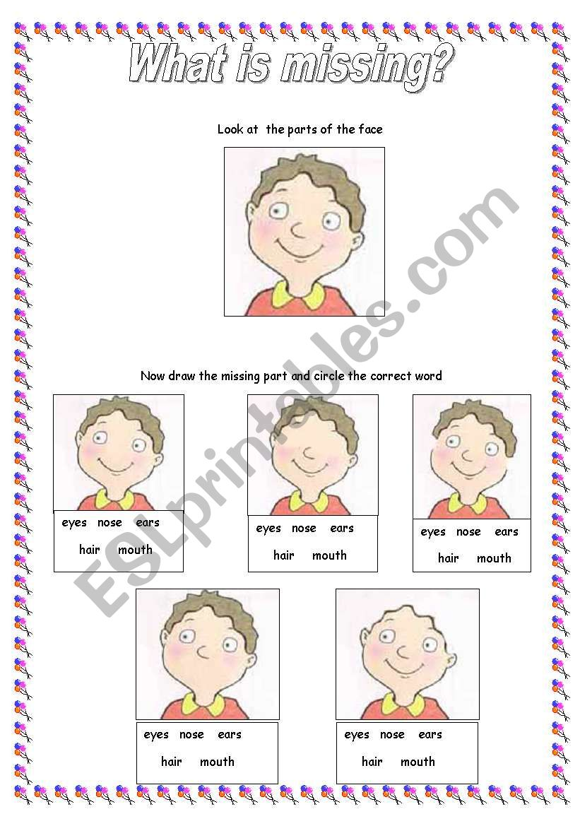 The Face : What´s missing? worksheet
