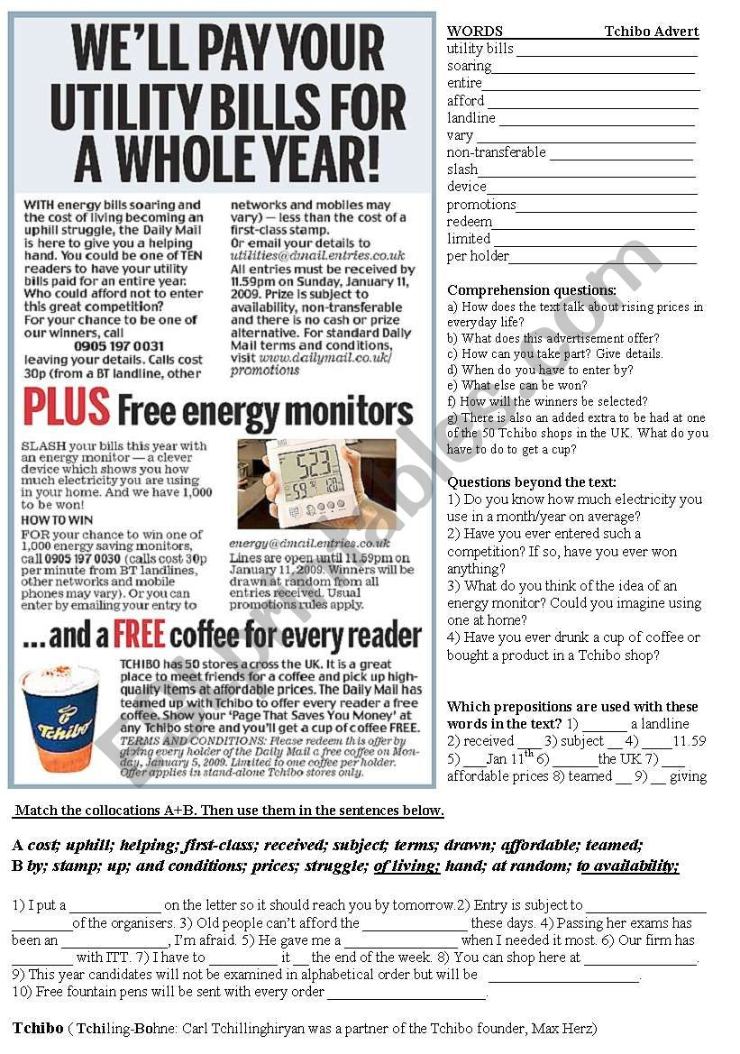 Tchibo Advert from the Daily Mail Newspaper. Comprehesion Questions and language elements.