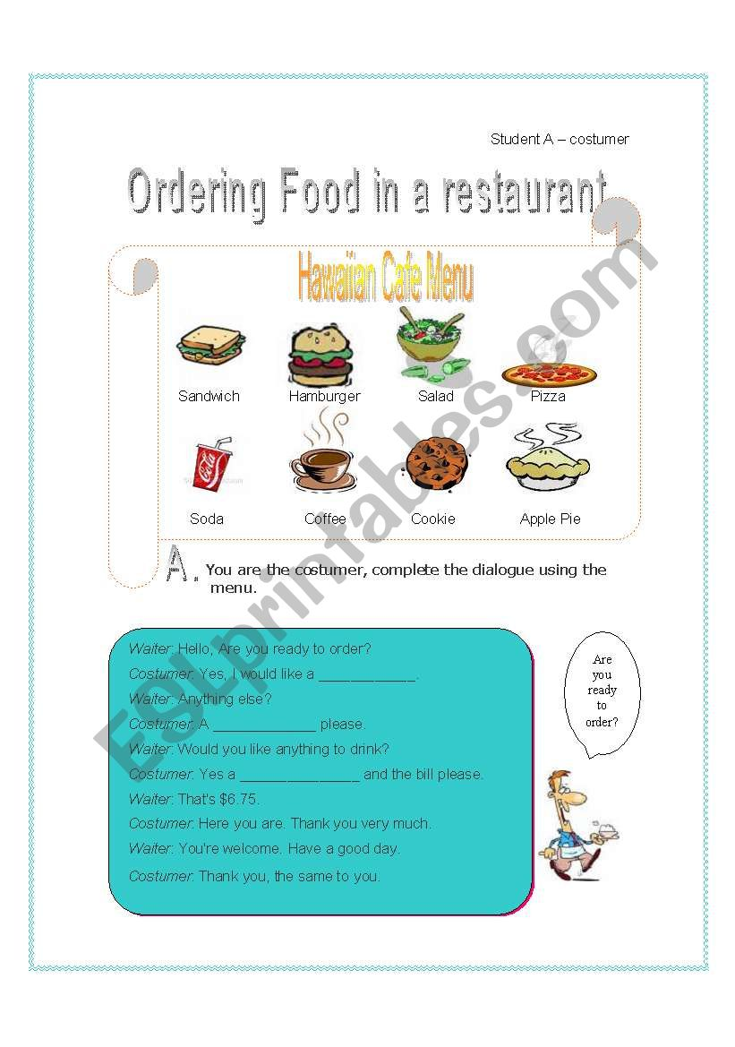 function - ordering food in restaurant