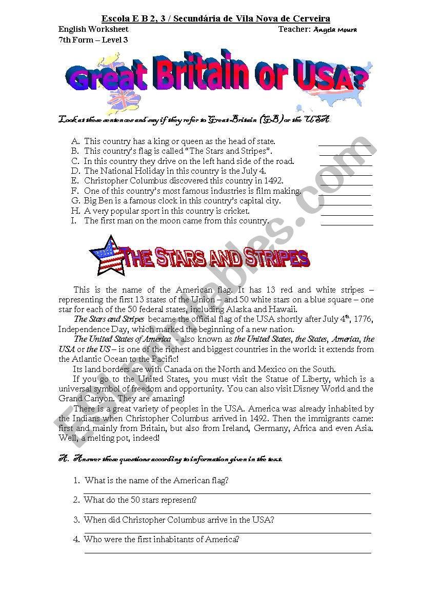 USA or GB worksheet