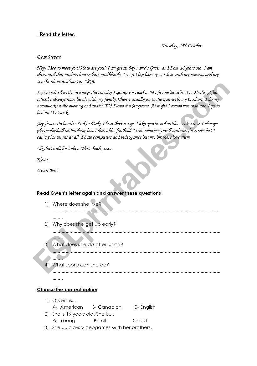 Read the letter and answer worksheet