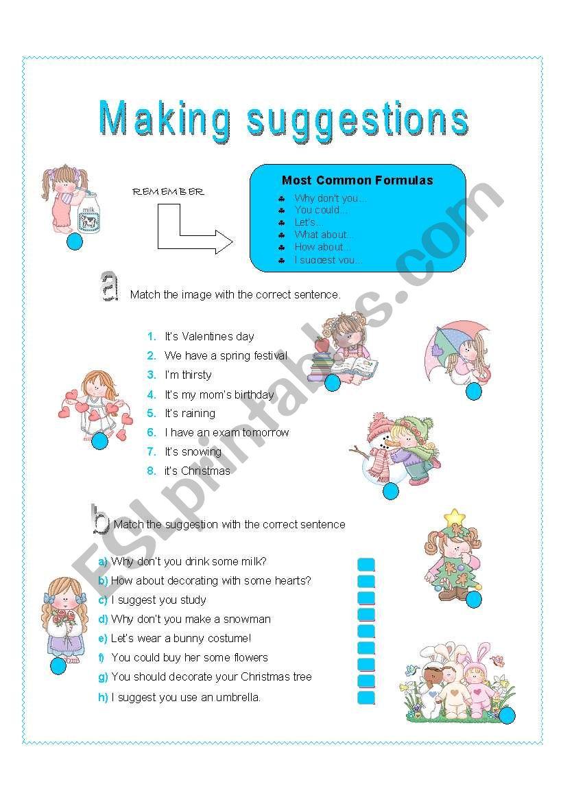 function - making suggestions worksheet
