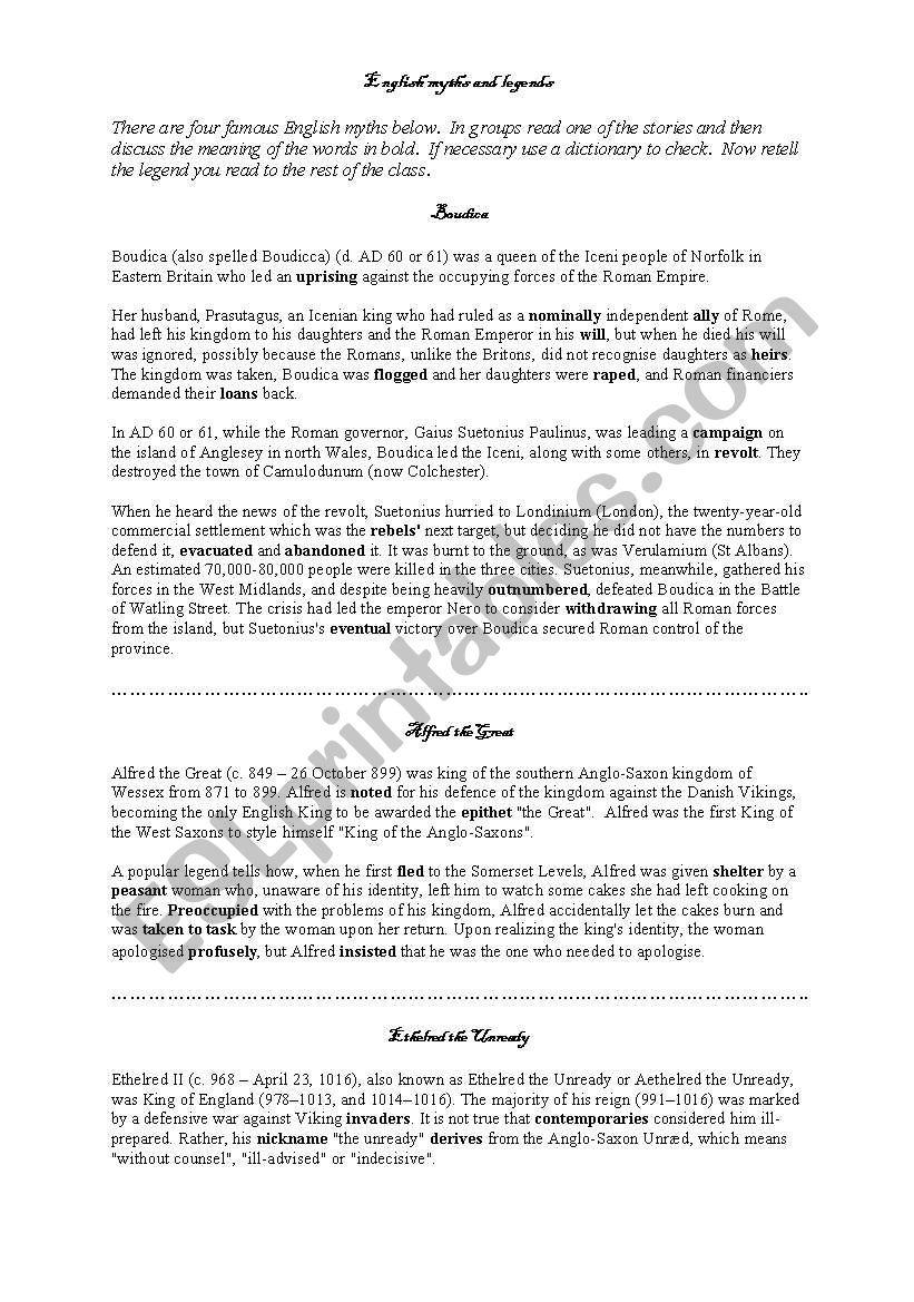 English myths and legends worksheet