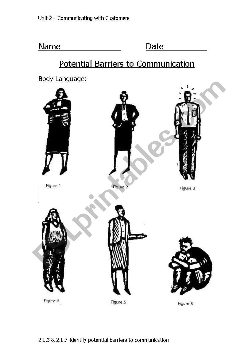 English Worksheets Barriers To Communication Body Language