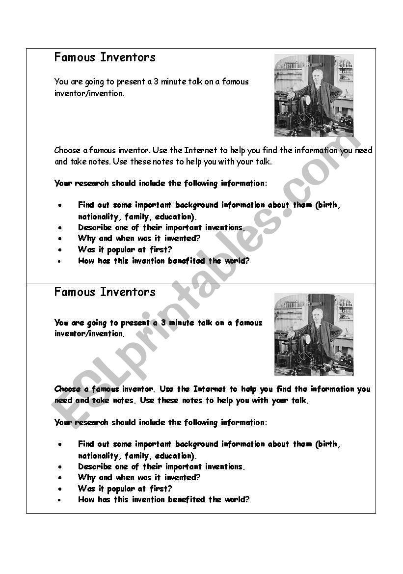 Famous inventors - oral presentation task