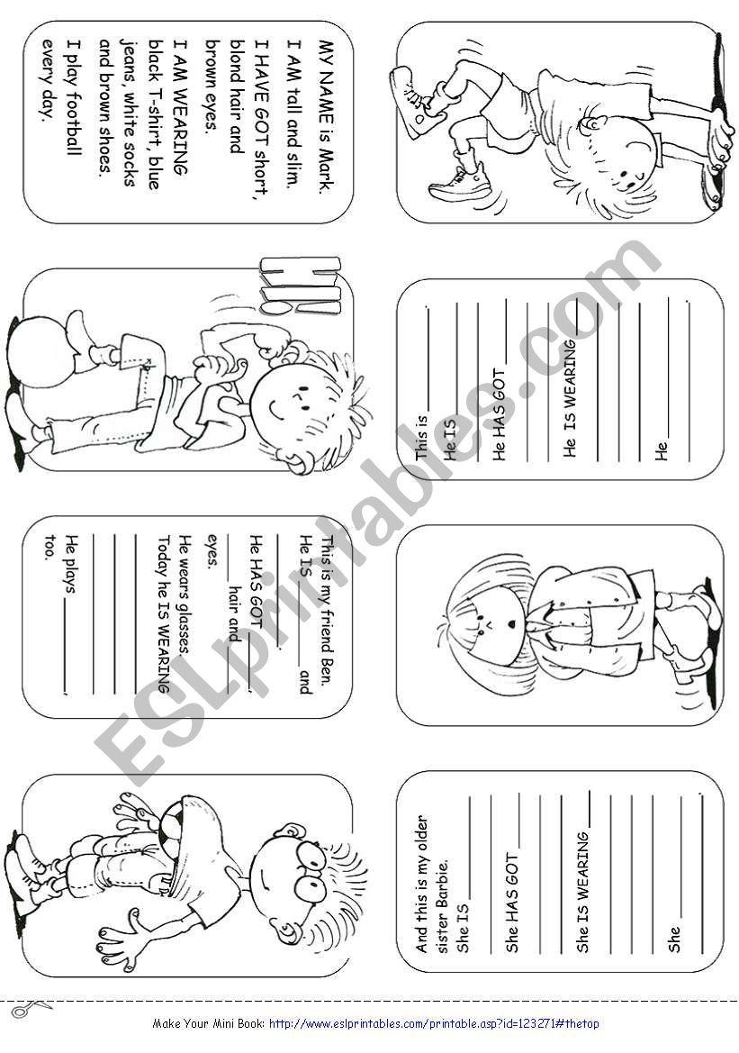 Describing People Mini Book worksheet